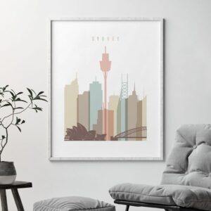 Sydney poster pastel white second