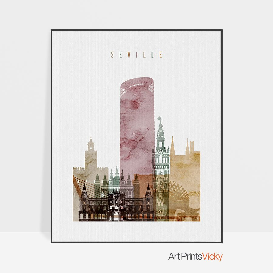 Art prints Seville watercolor 1