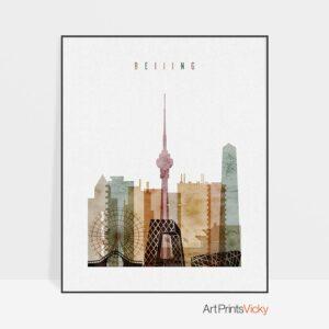 Beijing skyline watercolor 1 poster