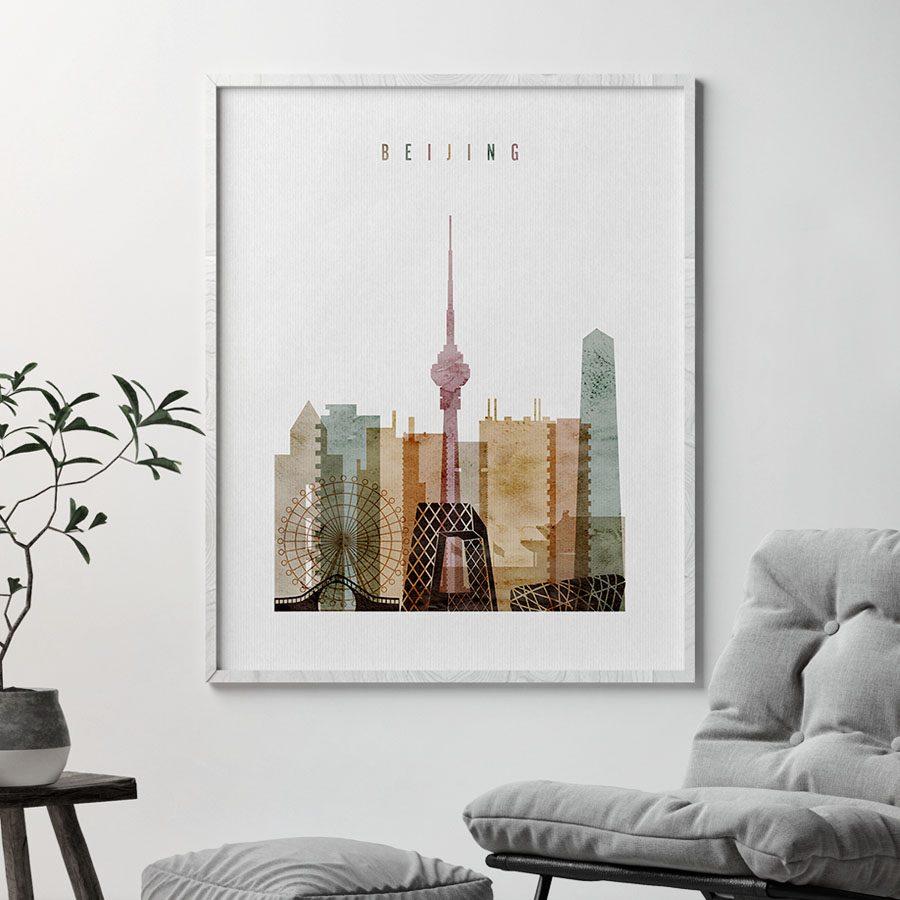 Beijing skyline watercolor 1 poster second