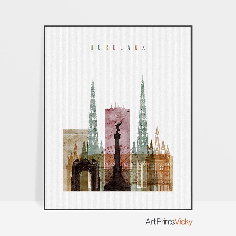 Bordeaux skyline watercolor 1 poster