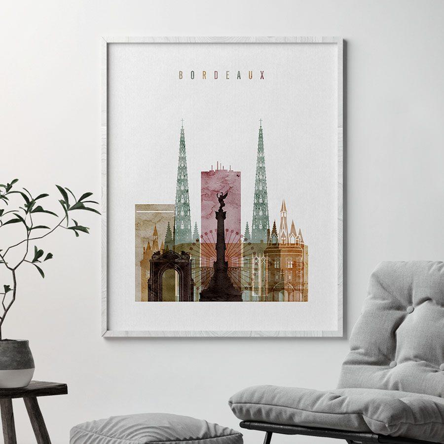 Bordeaux skyline watercolor 1 poster second