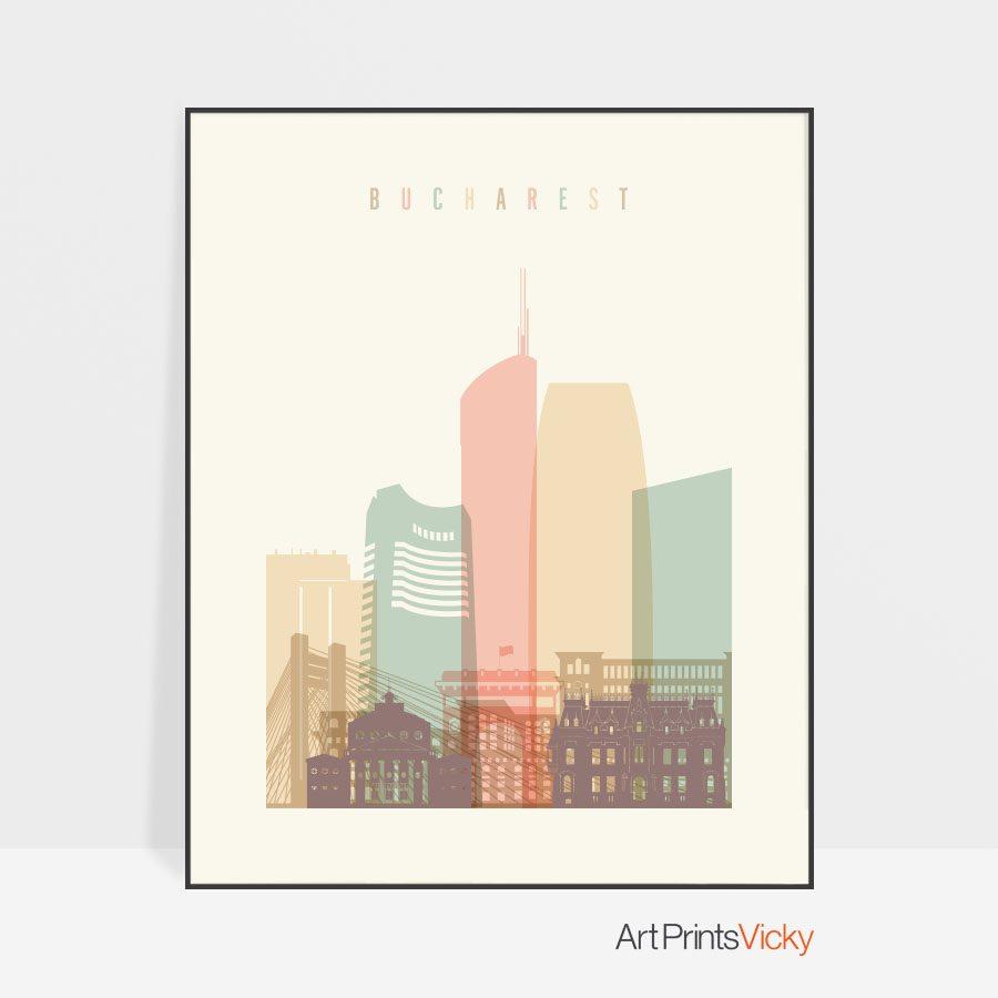 Bucharest skyline poster pastel cream