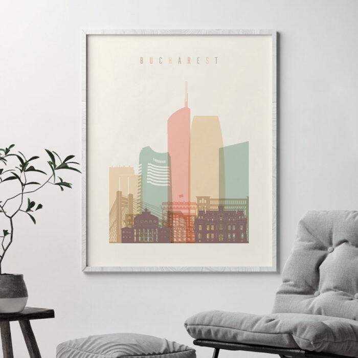 Bucharest skyline poster pastel cream second