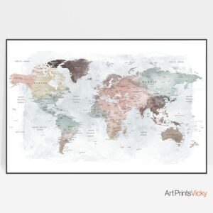 Detailed world map print