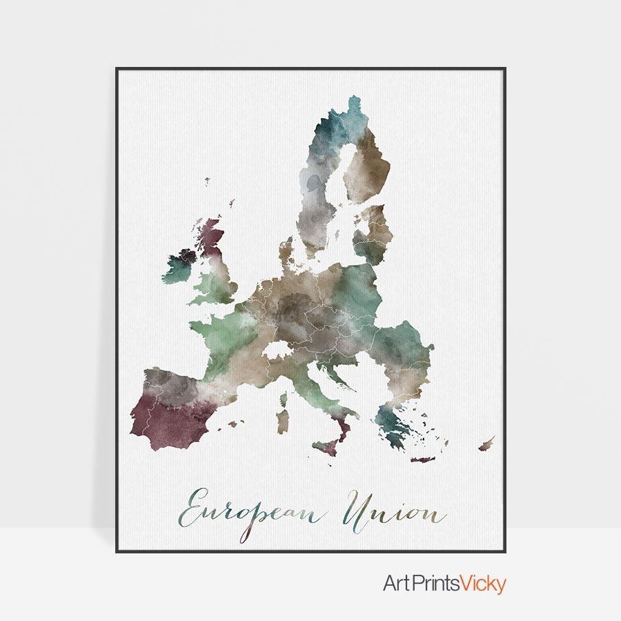 European Union map poster