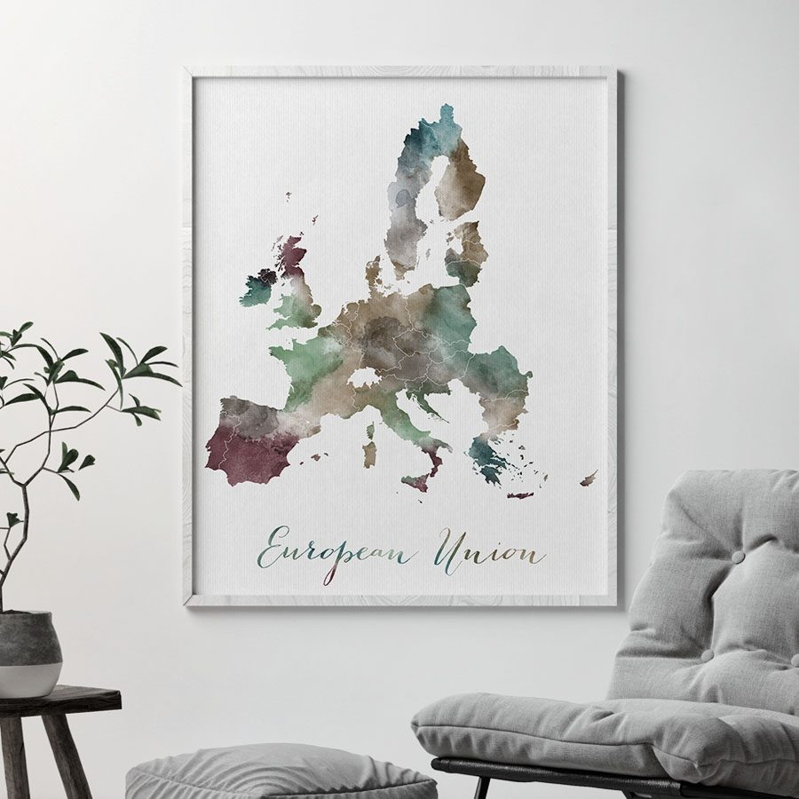 European Union map poster second
