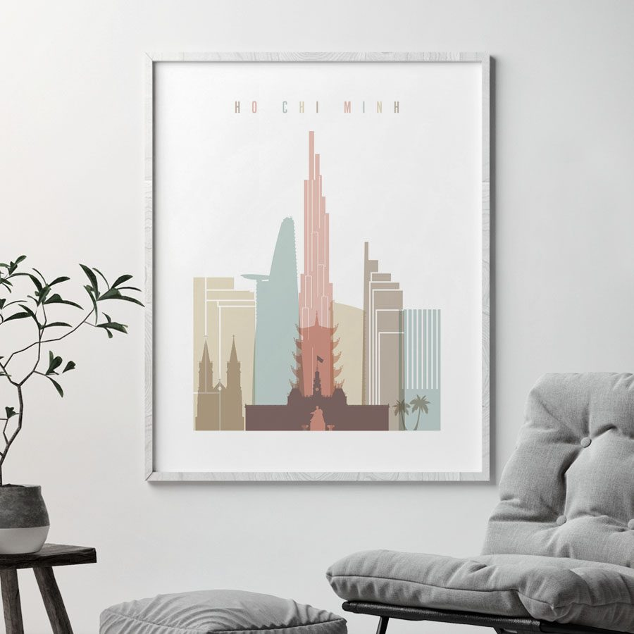 Ho Chi Minh poster pastel white second