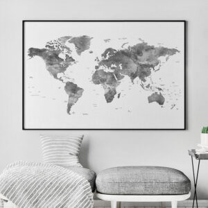 World map poster grey detailed second