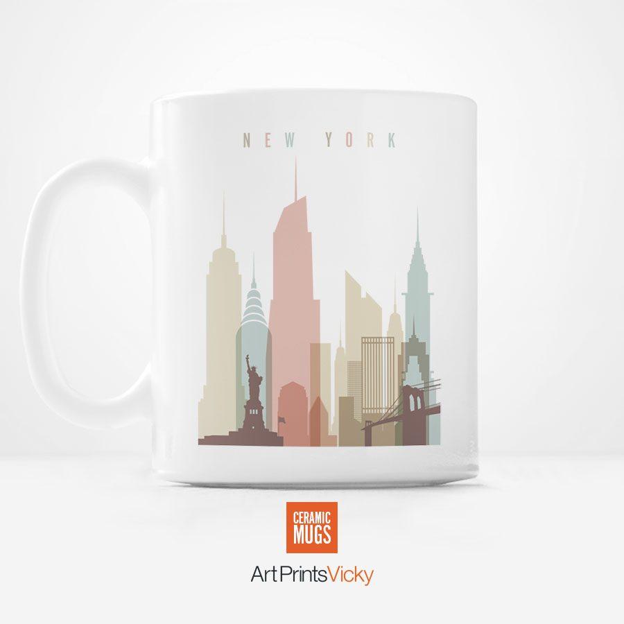 new york city mug pastel white