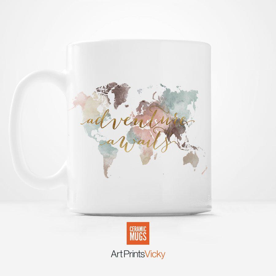 world map mug adventure awaits