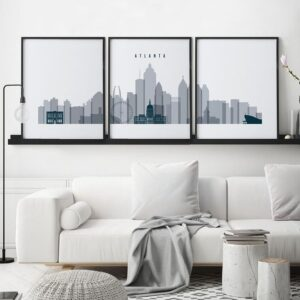 Atlanta 3 prints set grey blue
