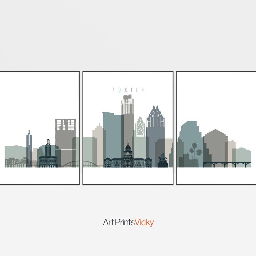 Austin 3 prints set earth tones 4