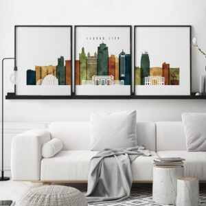 Kansas City 3 prints set watercolor 3 second