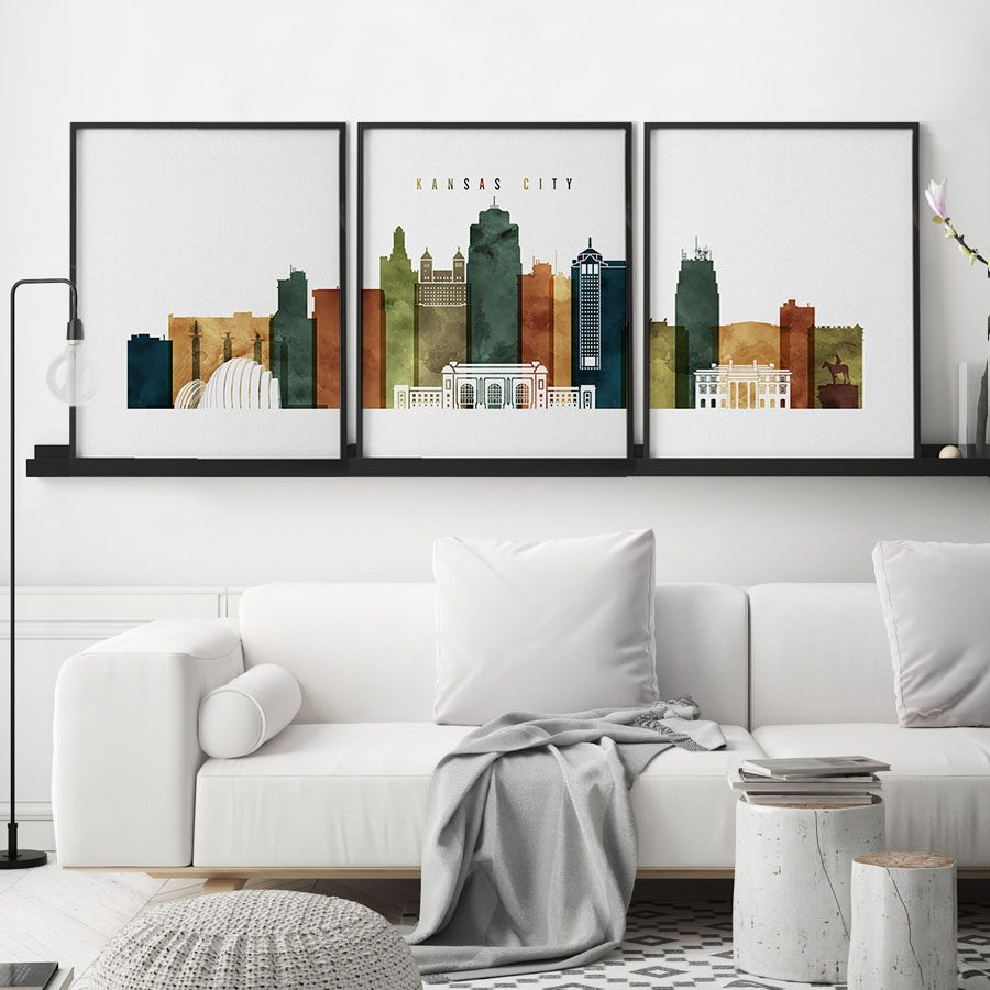 Kansas City 3 prints set watercolor 3 second