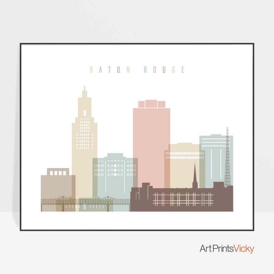 Baton Rouge print landscape pastel white