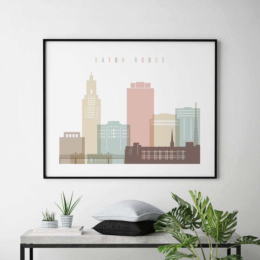 Baton Rouge print landscape pastel white second