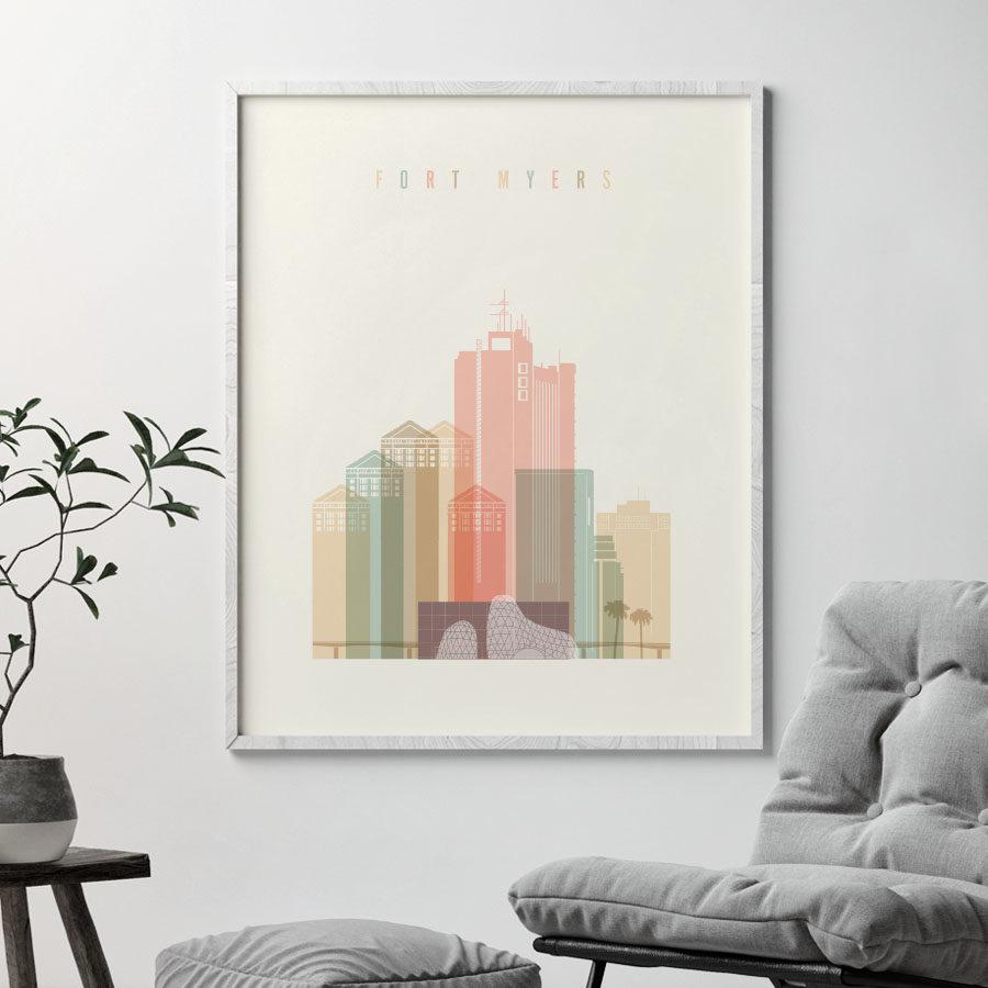 Fort Myers art print pastel cream second