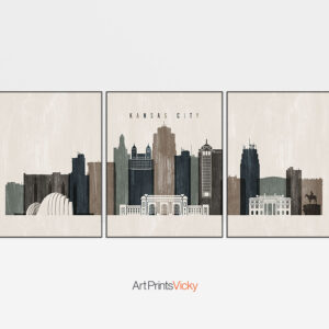 Prints set Kansas City distressed 2