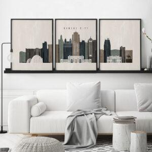 Set of prints Kansas City distressed 2 second