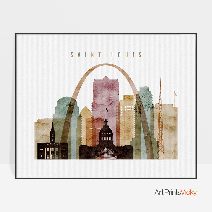 Saint Louis print landscape watercolor 1