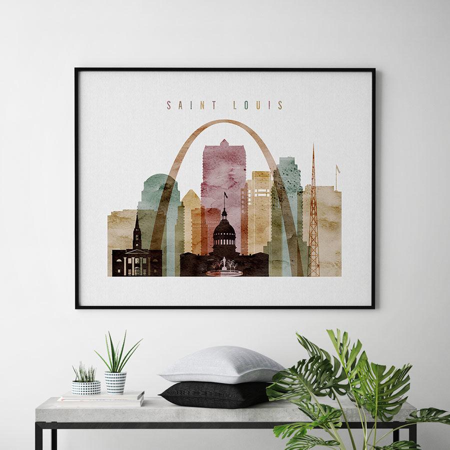 Saint Louis print landscape watercolor 1 second