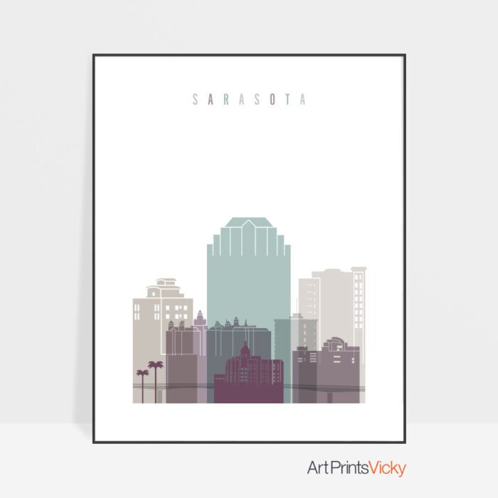 Sarasota skyline art print pastel 2