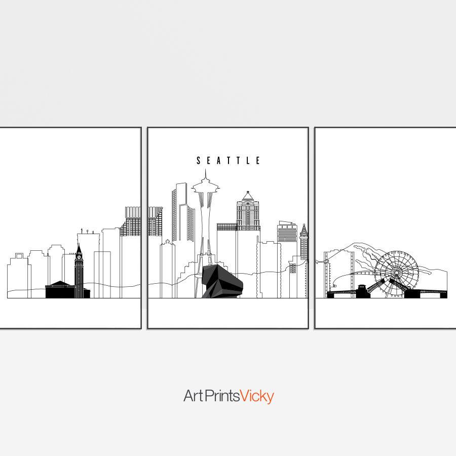 Seattle 3 prints set outline