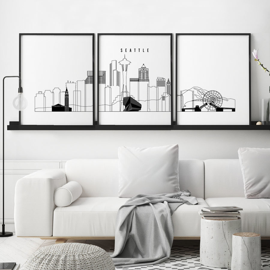Seattle 3 prints set outline second