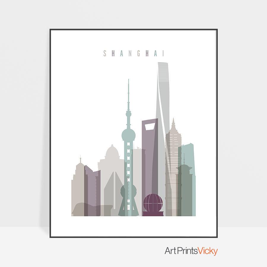 Shanghai skyline art print pastel 2