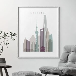 Shanghai skyline art print pastel 2 second