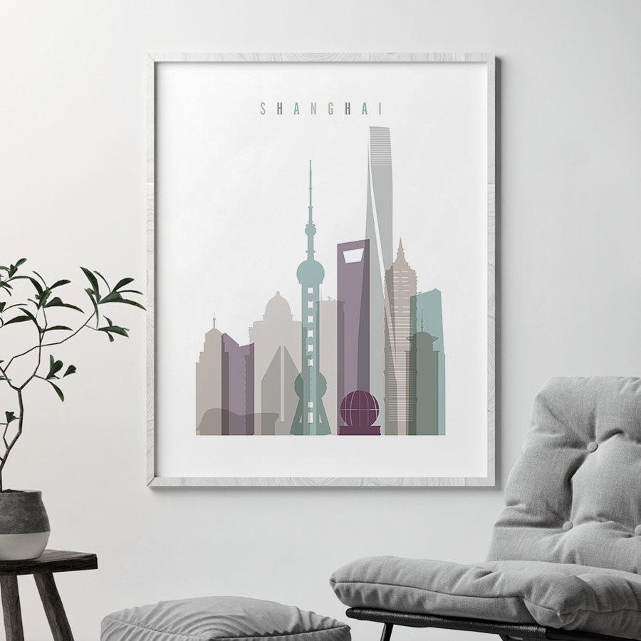 Shanghai skyline art print pastel 2 second