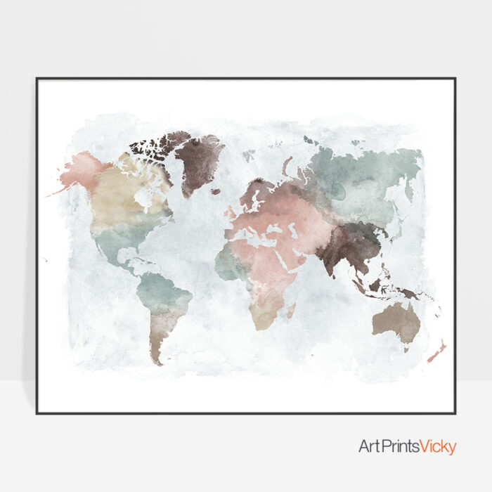 World Map Poster Pastel Watercolor