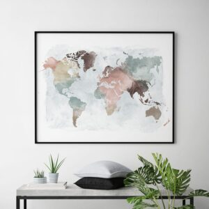 World Map Poster Pastel Watercolor second