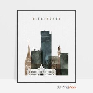 Birmingham city print watercolor 2