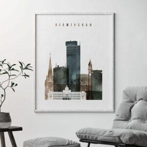 Birmingham city print watercolor 2 second