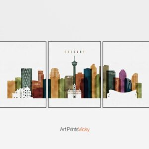 Calgary skyline art set of 3 prints watercolor 3
