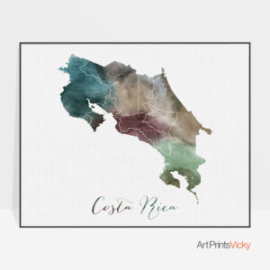 Costa Rica map print watercolor