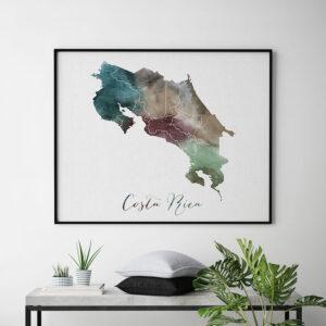 Costa Rica map print watercolor second