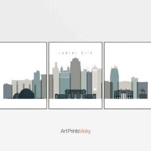 Kansas City 3 prints set earth tones 4