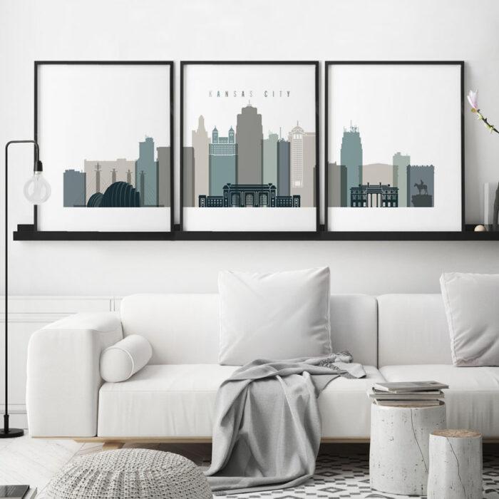 Kansas City 3 prints set earth tones 4 second
