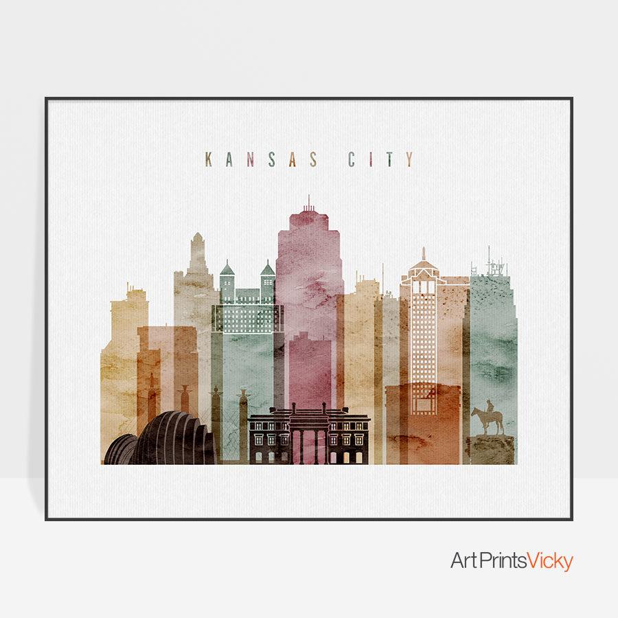 Kansas City print watercolor 1 landscape
