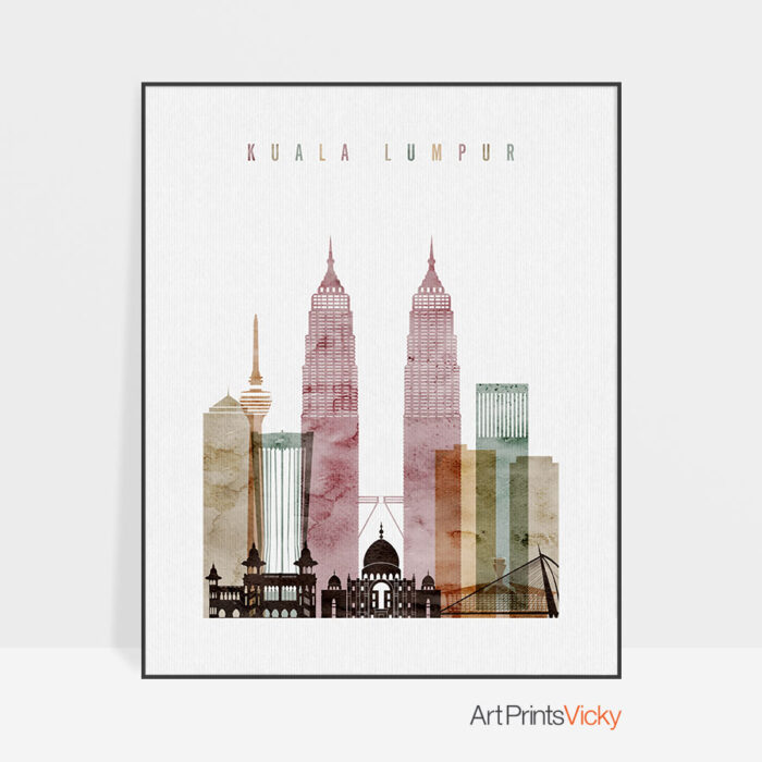 Kuala Lumpur poster watercolor 1