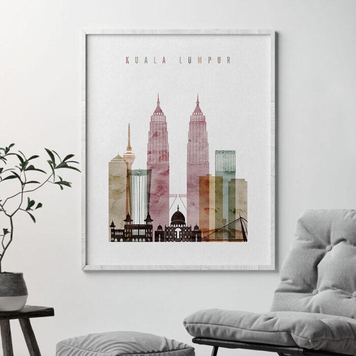 Kuala Lumpur poster watercolor 1 second