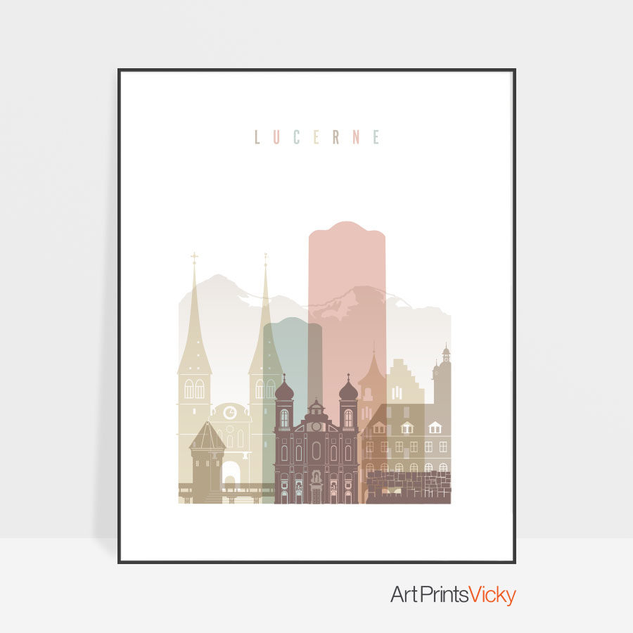 Lucerne skyline poster pastel white