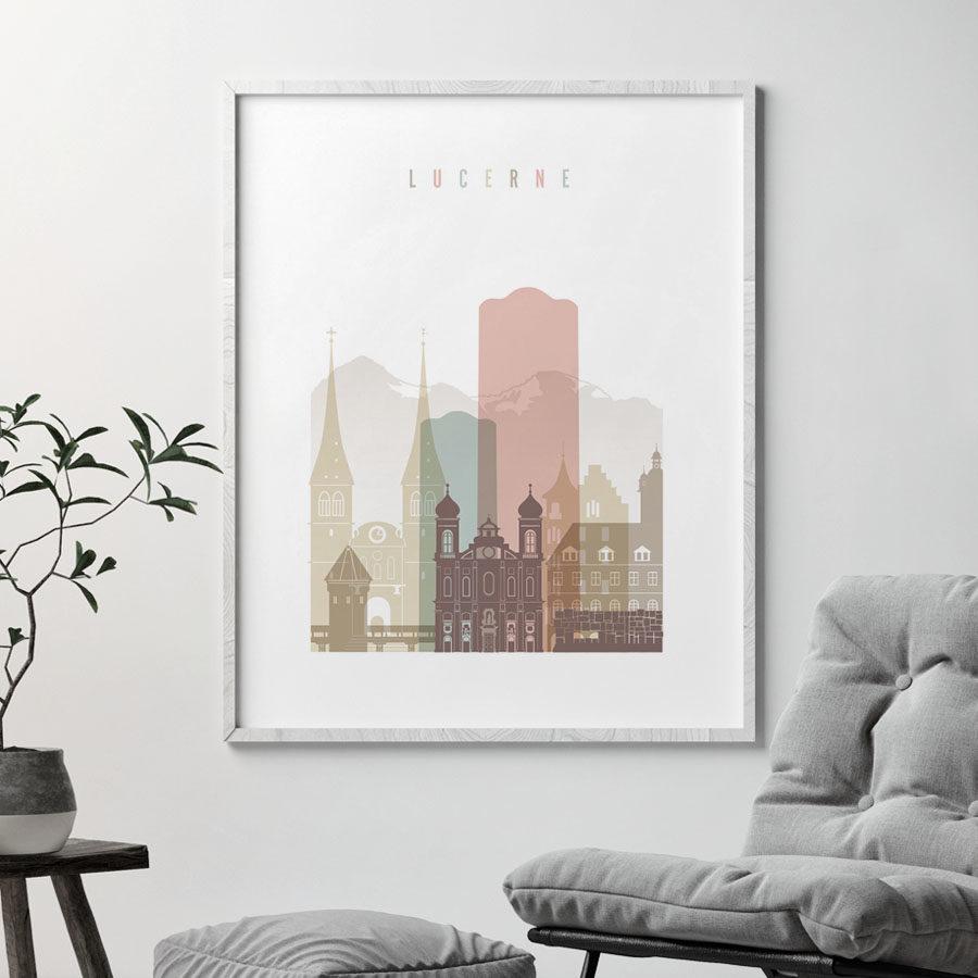 Lucerne skyline poster pastel white second
