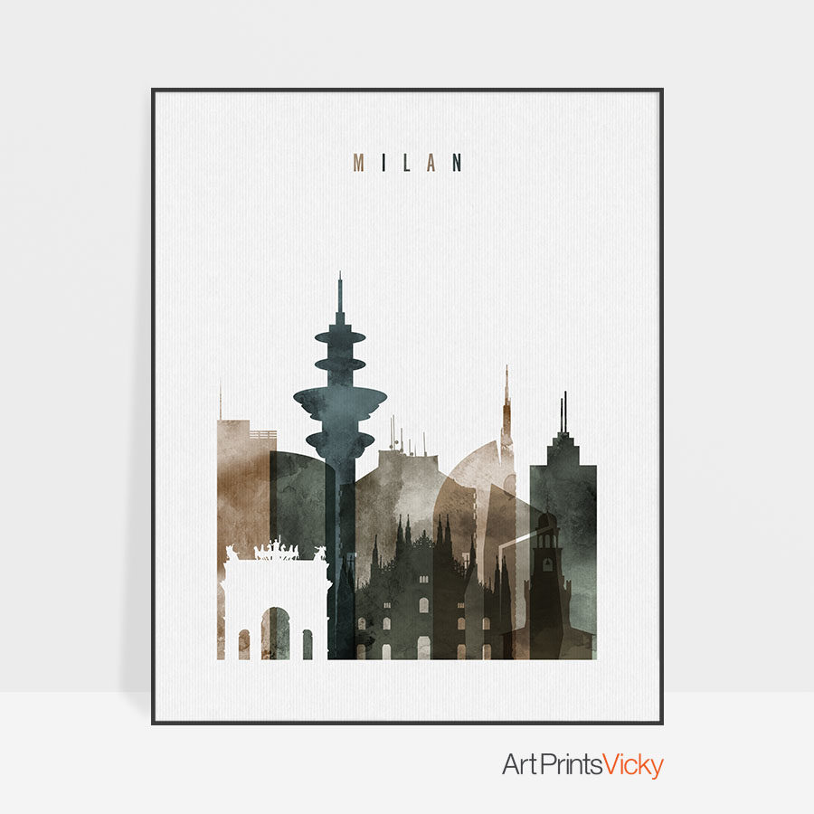 Milan skyline poster watercolor 2