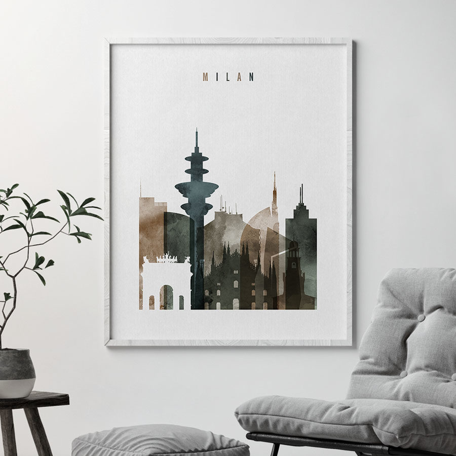 Milan skyline poster watercolor 2 second