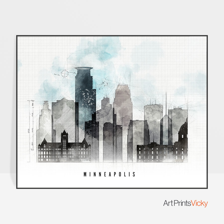 Minneapolis urban poster landscape