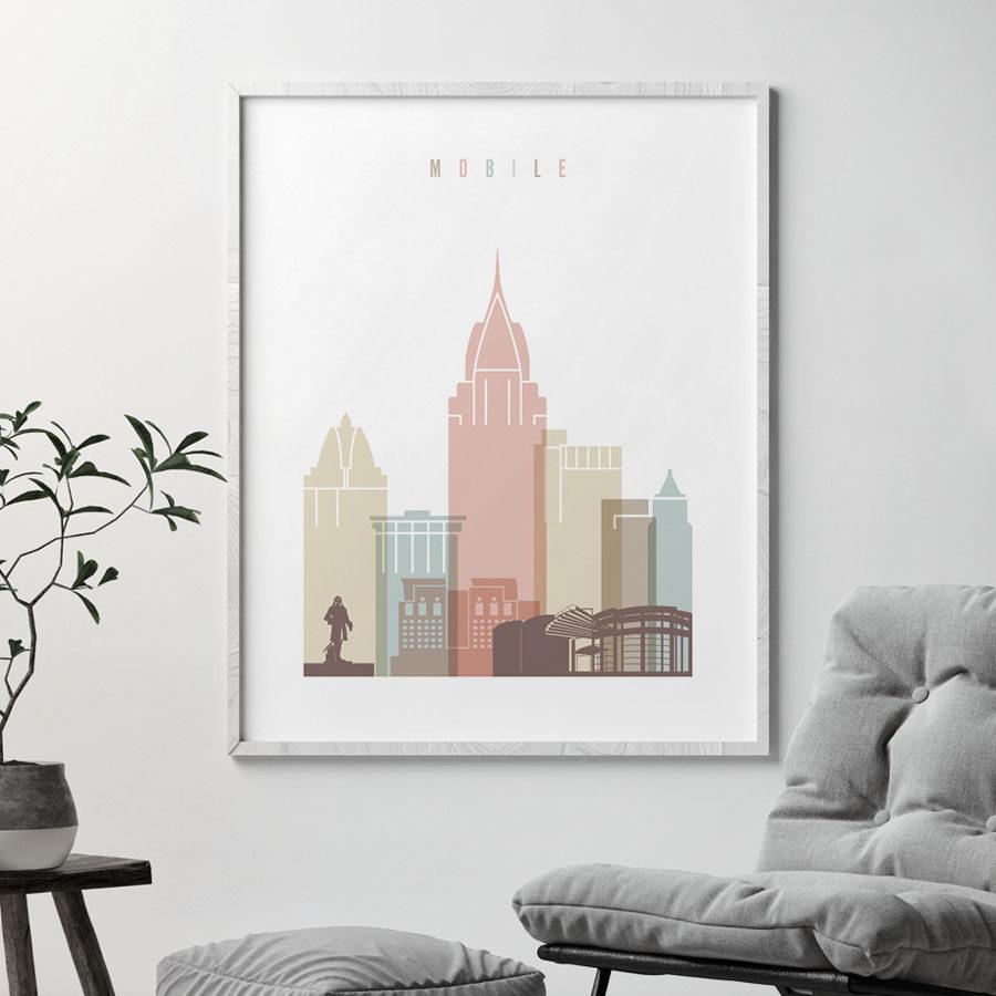 Mobile Alabama print pastel white second